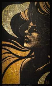 Le souffle - Bois peint gravé et creusé - 50x30 cm - 2015